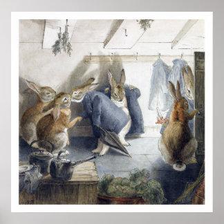 Affiche d impression de fête de Noël de lapin de B