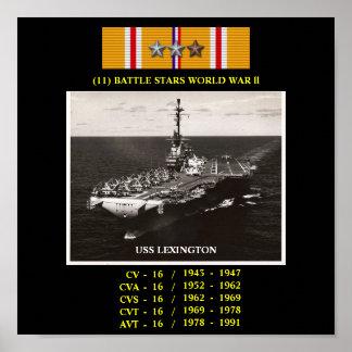AFFICHE D USS LEXINGTON CV CVA CVS CVT AVT-16