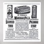 affiche d'annonce petite de 1890 médecines