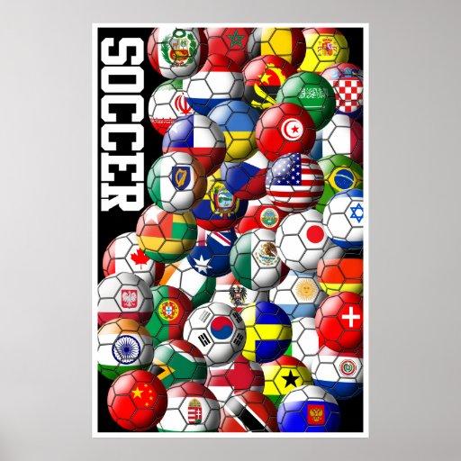 Affiche de ballons de football du monde