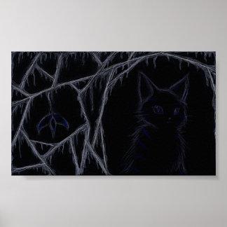 Affiche de chat de toiles d'araignée d'égoutture