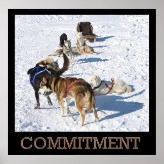 Affiche de chiens de traîneau d engagement