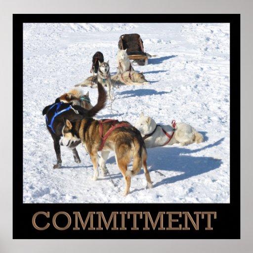 Affiche de chiens de traîneau d'engagement