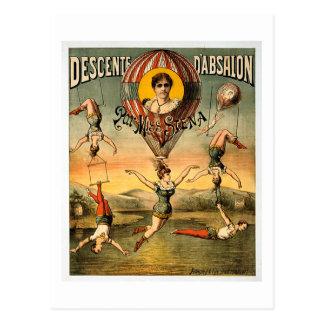 Affiche de cirque de Mlle Stena Flying Trapese Vin Cartes Postales