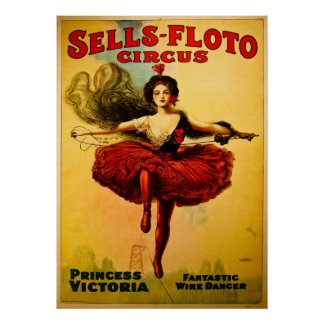 Affiche de cirque de Ventes-Floto de cru