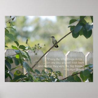 """Affiche de colibri avec la citation de """"petites ch"""