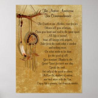 Affiche de commandements du Natif américain Dix