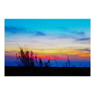Affiche de coucher du soleil de margarita