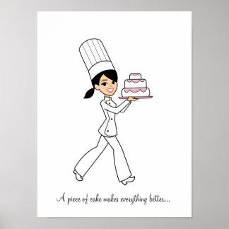 Affiche de fille de chef de Baker de gâteau