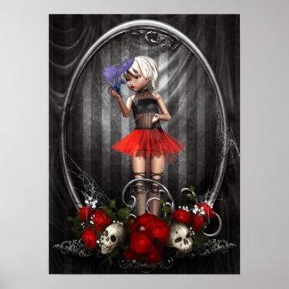 affiche de fille de poupée de goth d'imaginaire