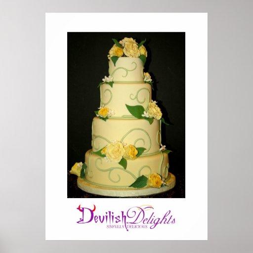 Affiche de gâteau de mariage