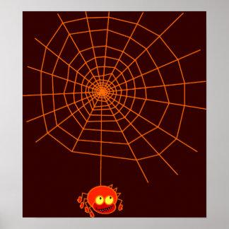 Affiche de Halloween de toile d'araignée