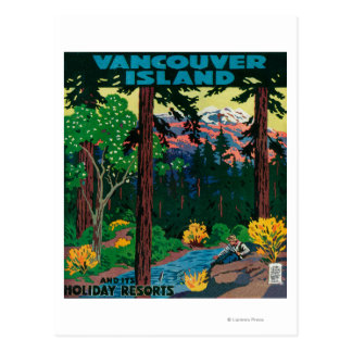 Affiche de la publicité d île de Vancouver Carte Postale