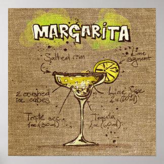 Affiche de margarita de recette de cocktail