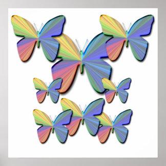 Affiche de papillons d'arc-en-ciel