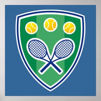 Affiche de tennis avec l'emblème de raquette de