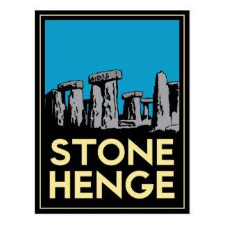 Affiche de voyage d art déco de Stonehenge Carte Postale