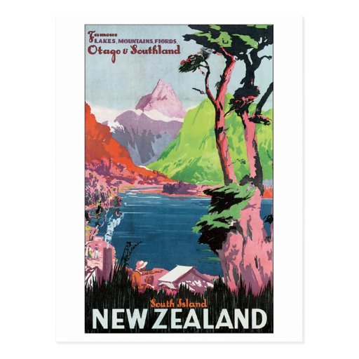 Affiche de voyage de la Nouvelle Zélande d'île du  Cartes Postales