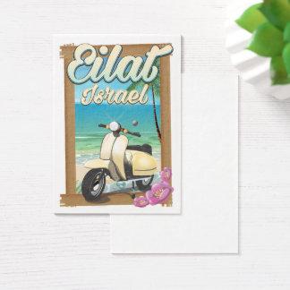Affiche de voyage de scooter de l'Israël de plage Cartes De Visite