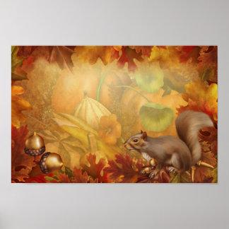 Affiche d'écureuil de thanksgiving
