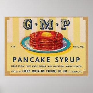 affiche d'étiquette de sirop de crêpe de gmp