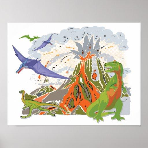 Affiche d'impression de dinosaure