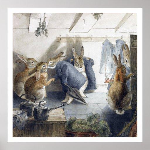 Affiche d'impression de fête de Noël de lapin de B