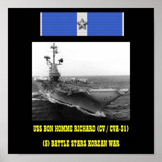 AFFICHE D'USS BON HOMME RICHARD (CV/CVA-31)