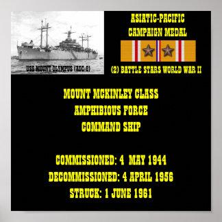 AFFICHE D'USS LE MONT OLYMPE (AGC-8)
