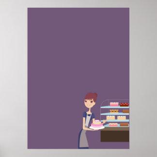 Affiche en blanc de boulangerie/magasin de pâtisse
