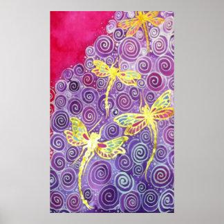 Affiche en soie peinte à la main de libellule par