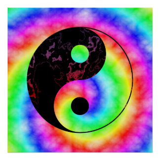 Affiche en spirale de Yin Yang d arc-en-ciel