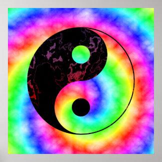 Affiche en spirale de Yin Yang d'arc-en-ciel