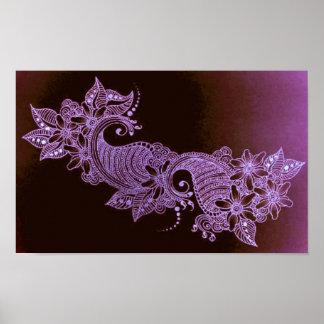 affiche florale de mehndi violet de henné
