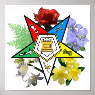 Affiche florale d'emblème d'OES