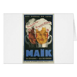 affiche française originale 1929 d'art déco de carte de vœux