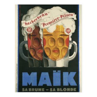 affiche française originale 1929 d'art déco de cartes postales
