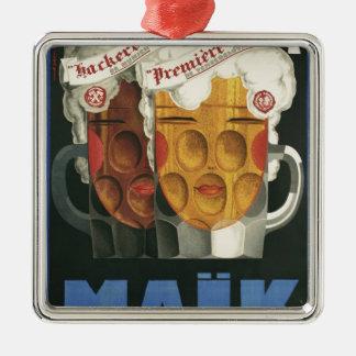 affiche française originale 1929 d'art déco de ornement carré argenté