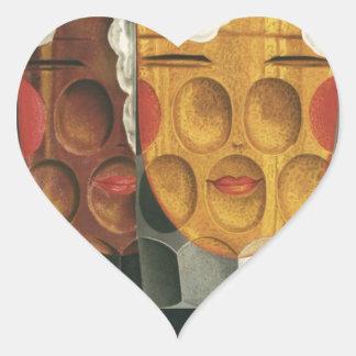 affiche française originale 1929 d'art déco de sticker cœur