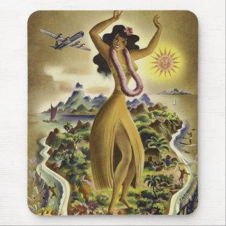 Affiche hawaïenne vintage de voyage tapis de souris