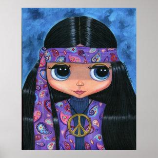 Affiche hippie de poupée de Paisley