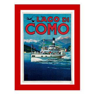 """Affiche italienne vintage de voyage de """"Lago di Carte Postale"""