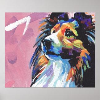 Affiche lumineuse d'art de bruit de chien de berge