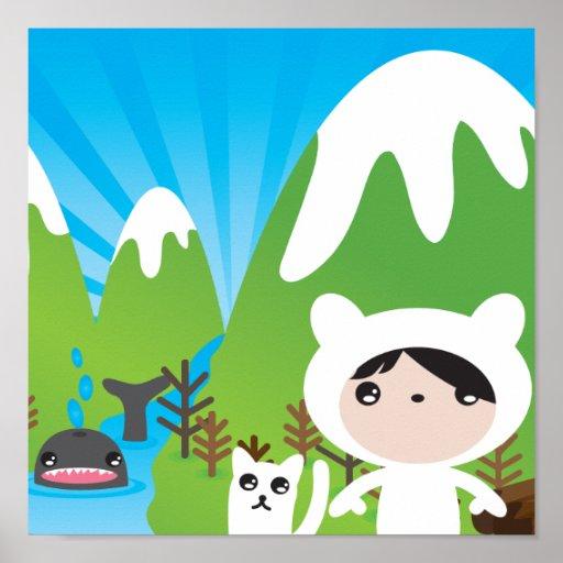 Affiche mignonne d'illustration de montagne pour l