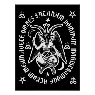 """Affiche occulte latine de Satan"""" Baphomet """"de"""