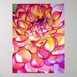 Affiche pour aquarelle de beaux-arts de dahlia ros