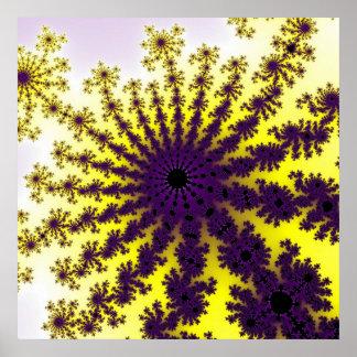 Affiche pourpre d éclat de fractale de citron
