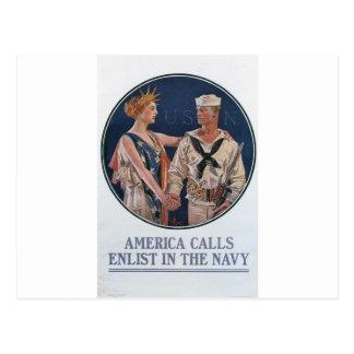Affiche recruteuse de vieille marine circa 1917 carte postale