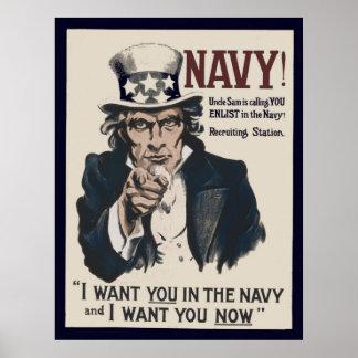 Affiche recruteuse vintage de la marine WW1