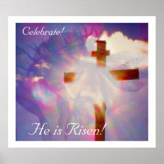Affiche religieuse de Pâques - Jésus et croix